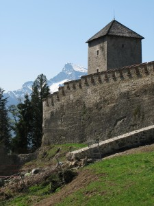 Old fortress on the top of the Monk's mountain in Salzburg, Aust